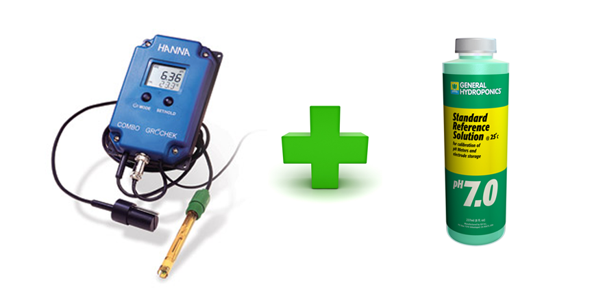ph meter and solution