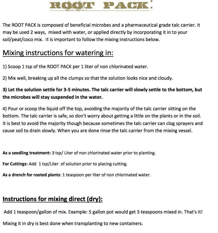 og biowar root pack instructions